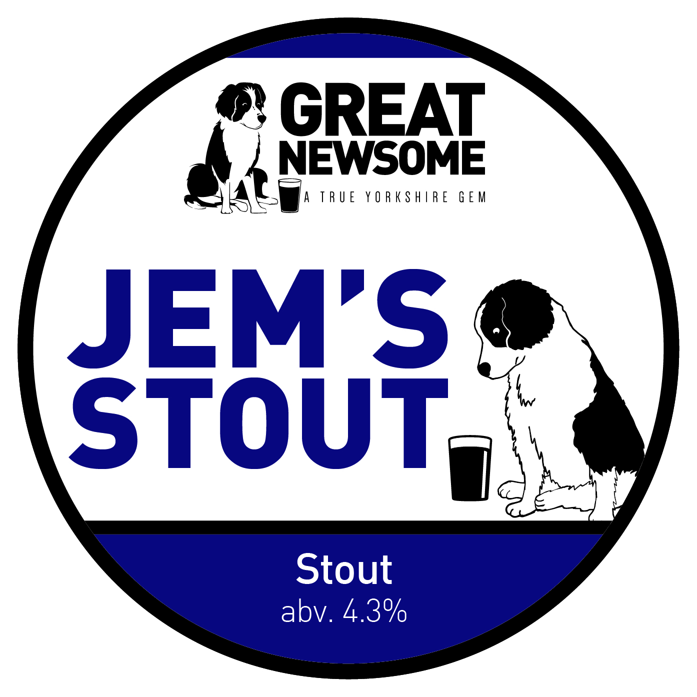 Jem the dog branding on Great Newsome's Jem's Stout pump clip.